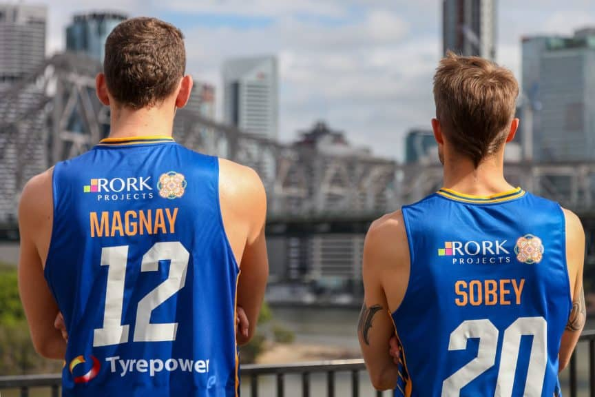 Will Magnay and Nathan Sobey model the Brisbane Bullets jersey with Rork Projects logo