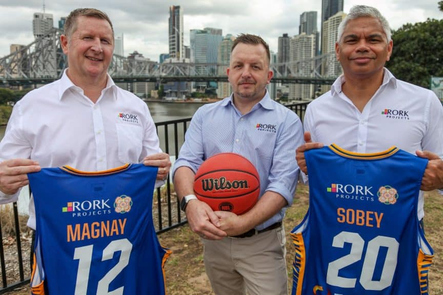 Rork Projects co-owners Brian O'Rourke and John Paul Janke with Queensland GM Matt Clayton at the Brisbane Bullets announcement